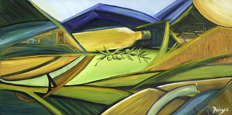 Doris Scaggion - Umbria cuore verde dell'Italia - Olio su tela - 80 x 40 rid