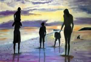Ombre sulla sabbia - Ottobre 2010 - olio su tela
